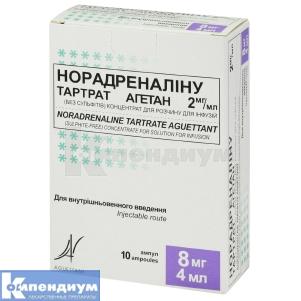 НОРАДРЕНАЛИНА ТАРТРАТ АГЕТАН 2 мг / мл инструкция по применению