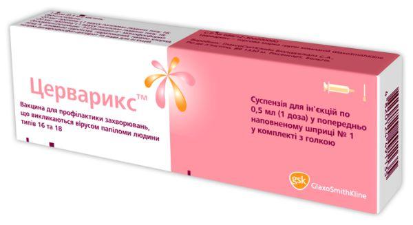 ЦЕРВАРИКСВакцина для профилактики заболеваний, вызываемых вирусом папилломы человека типов 16 и 18