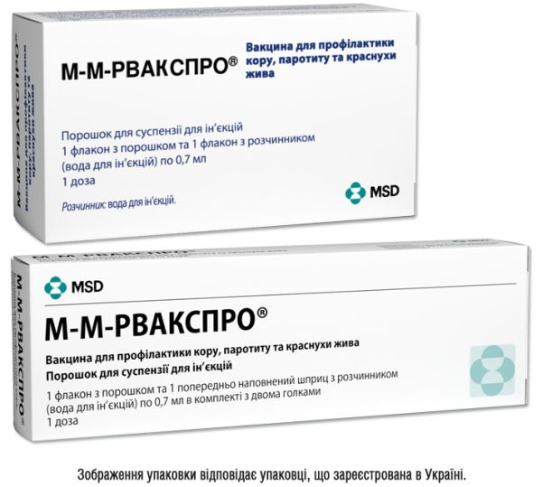 М-М-Рвакспро вакцина для профилактики кори, эпидемического паротита и краснухи живая